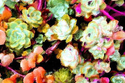 Hens And Chicks Painting - Succulents No.3 by Bonnie Bruno
