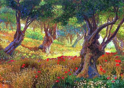 Meadow Scene Painting - Tranquil Grove Of Poppies And Olive Trees by Jane Small