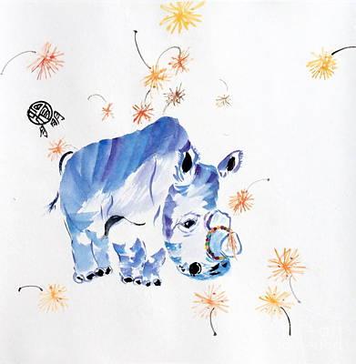 White Rhino Painting - Sudan The World's Last Male Northern White Rhino by Ming Yeung