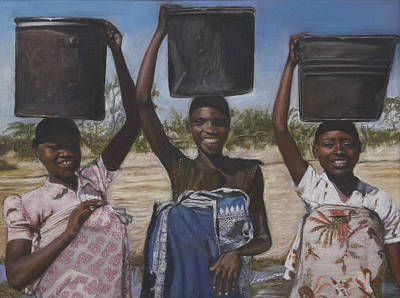 Sudanese Women Coming From The Borehole Print by Leonor Thornton