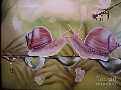 Metal Dragonfly Painting - Sue And Sammy Snail by Dianna Lewis