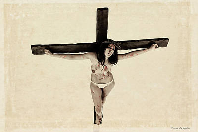 Suffering Of A Woman On Cross Print by Ramon Martinez