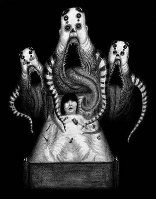 Dark Evil Scary Drawing - Sugar Babies A Dark Nursery Rhyme by Ryan Nieves
