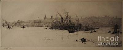 Sugar Boats Unloading At Greenwich Reach Print by William Lionel Wyllie