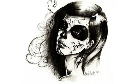 Sugar Skull Girl Drawing - Sugar Skull by Alycia Plank