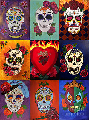 Las Cruces Painting - Sugar Skull Collage by Rosemary Vasquez Tuthill