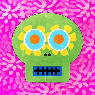 Sugar Skull Green And Pink Print by Linda Woods