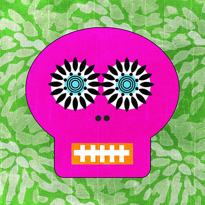 Sugar Skull Pink And Green Print by Linda Woods