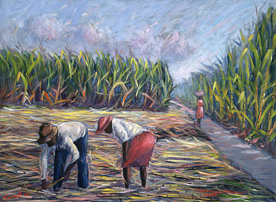 Farm Fields Painting - Sugarcane Harvest by Carlton Murrell