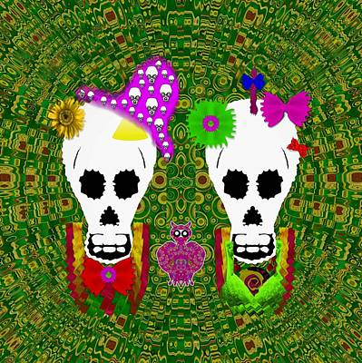 Sugarskull And Flowerskull And A Owl Print by Pepita Selles