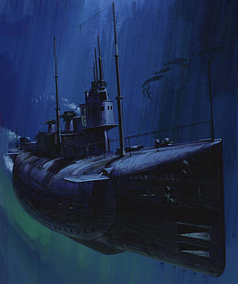 First World War Painting - Suicide Subs by Wilf Hardy