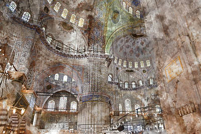 Sultanahmet Mosque Interior In Istanbul Turkey Print by Brandon Bourdages