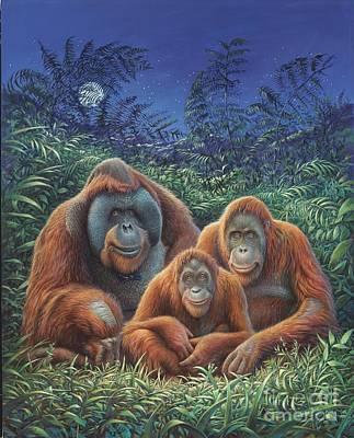 Orangutan Painting - Sumatra Orangutans by Hans Droog