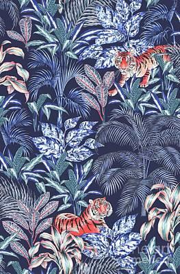 Sumatran Tiger, Blue Print by Jacqueline Colley