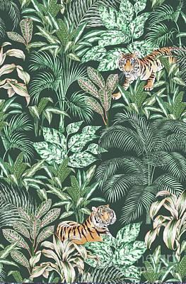 Sumatra Drawing - Sumatran Tiger, Green by Jacqueline Colley