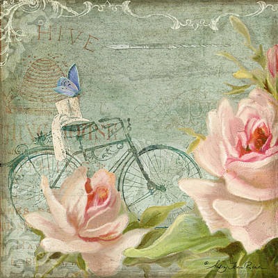 Summer At Cape May - Bicycle N Porch Roses Print by Audrey Jeanne Roberts