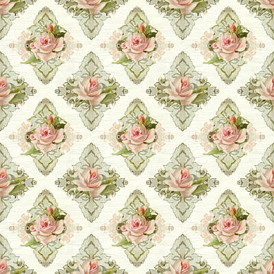 Summer At The Cottage - Vintage Style Damask Roses Print by Audrey Jeanne Roberts