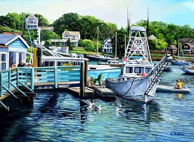 Summer At The Madfish Wharf Original by Eileen Patten Oliver