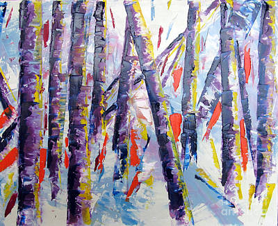 With Pallet Knife Painting - Summer Birches by Lisa Boyd