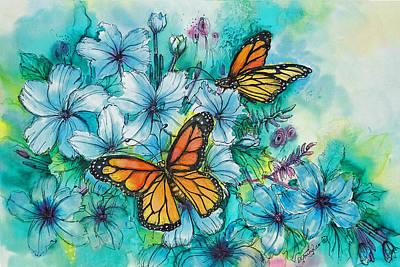 Fiber Art Painting - Summer Butterflies by Deborah Younglao