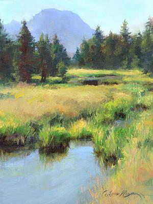 Plein Air Painting - Summer Calm In The Grand Tetons by Anna Rose Bain