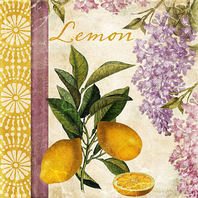 Lemon Painting - Summer Citrus Lemon by Mindy Sommers