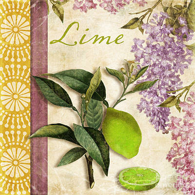 Grapefruit Painting - Summer Citrus Lime by Mindy Sommers