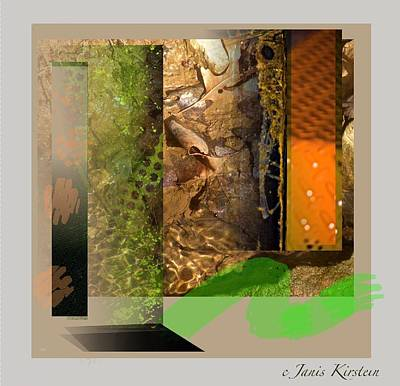 Abstract Movement Mixed Media - Summer Creek by Janis Kirstein