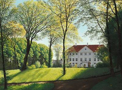Blue And Red Painting - Summer Day In The Park At The Manor by Niels Skovgaard