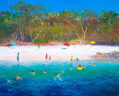 Beach Painting - Summer Days Blue Skies by Jan Matson