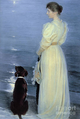 A Summer Evening Painting - Summer Evening At Skagen by Peder Severin Kroyer