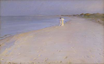 Summer Evening At The South Beach Print by Peder Severin Kroyer