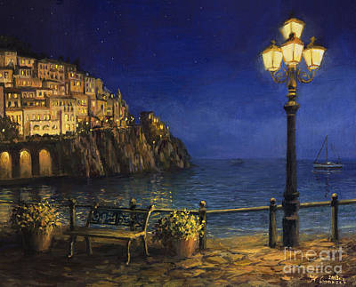 Summer Evening In Amalfi Print by Kiril Stanchev