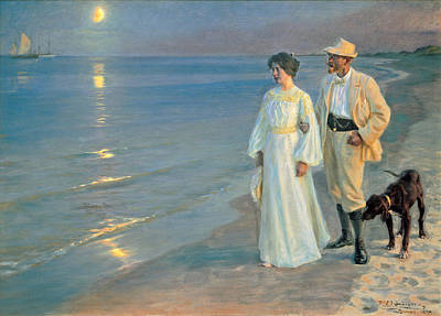 Summer Evening On The Beach At Skagen, The Painter And His Wife. Print by Peder Severin Kroyer