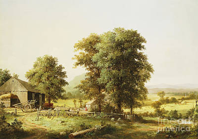 Old Wooden Wagon Painting - Summer Farm Scene by George Durrie
