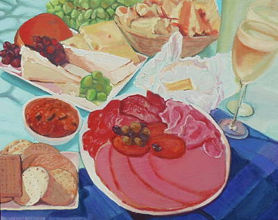 Bread And Cheese Painting - Summer Feast by Tanya Johnston
