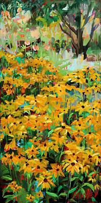 Black Eye Susan Painting - Summer Garden  Plein Air by Marie Massey