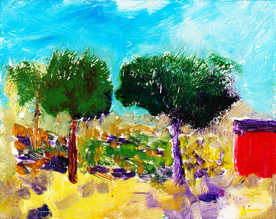 Reverse On Glass Painting - Summer In The Hudson Valley by Janet Gunderson