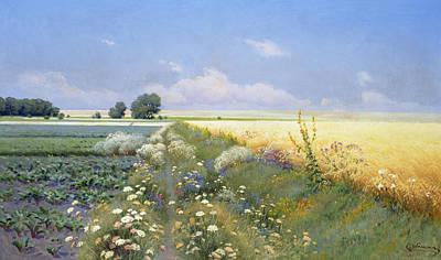 Summer Landscape Print by Eugeniusz Wrzeszcz