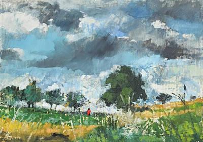 Summer Thunderstorm Painting - Summer Landscape Rain Coming by Martin Stankewitz