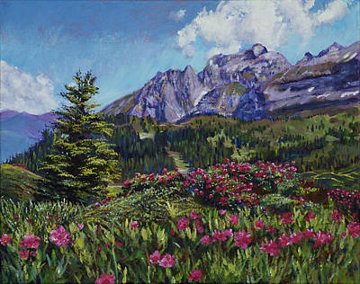 Impressionistic Landscape Painting - Summer Meadow Wildflowers by David Lloyd Glover