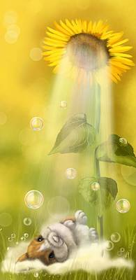 Digital Sunflower Painting - Summer Shower by Veronica Minozzi