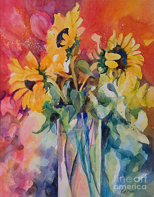 Sun Symbol Painting - Summer Sunflowers L by Kate Bedell