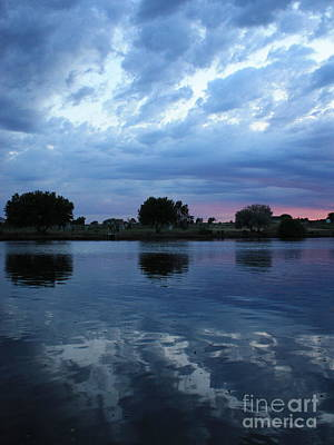 Storm Clouds Sunset Twilight Water Photograph - Summer Sunset On Yakima River 5 by Carol Groenen