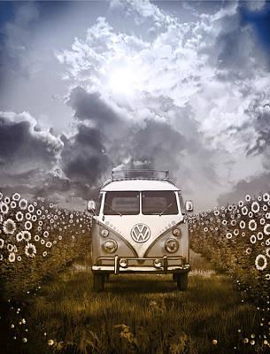 Hippie Van Painting - Summer Trip 2 by Bekim Art