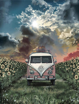 Hippie Van Painting - Summer Trip 4 by Bekim Art