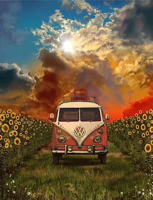 Hippie Van Painting - Summer Trip by Bekim Art
