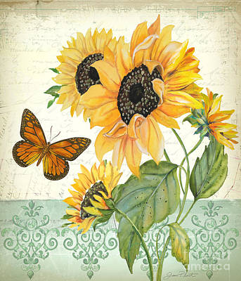 Butterfly Painting - Summertime Botanicals-jp3806 by Jean Plout