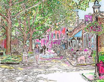 Walkway Drawing - Summertime In Newburyport, Massachusetts by Michele Loftus