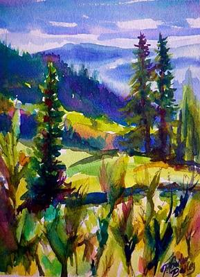 Painting - Summertime View From Nelson Sold Original Prints Available by Therese Fowler-Bailey